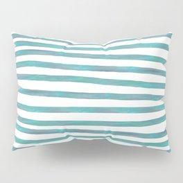 Ocean Green Hand-painted Stripes Pillow Sham