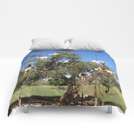 Goats in a tree Comforters