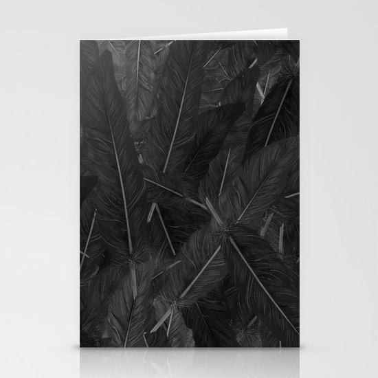 Feathered (Black). Stationery Cards