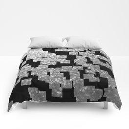 Silver checks on dark underground Comforters