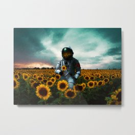 Astronaut & Sunflower Metal Print