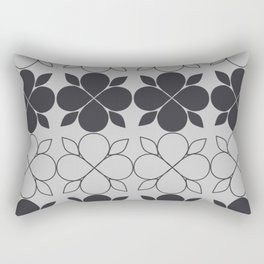 Black and Grey Flower Tile Rectangular Pillow