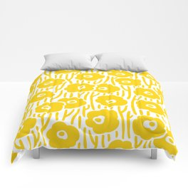 Mid Century Modern Wild Flowers Yellow Comforters