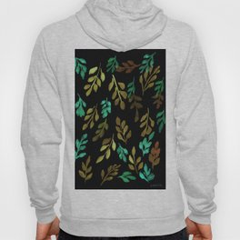 180726 Abstract Leaves Botanical Dark Mode 16 |Botanical Illustrations Hoody
