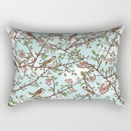 One Cloudy Day,  A Sparrow Tree -  Seamless Pattern Rectangular Pillow
