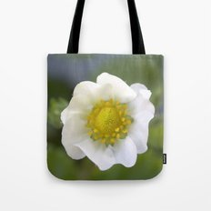white strawberry flower. floral photo art. Tote Bag