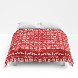 Cardigan Welsh Corgi Silhouettes Christmas Sweater Pattern Comforters