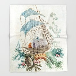 Chinoiserie Embroidery Throw Blanket
