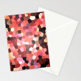 Red Black Mosaik pattern Stationery Cards