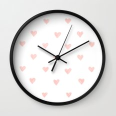 Pink hearts watercolor Wall Clock
