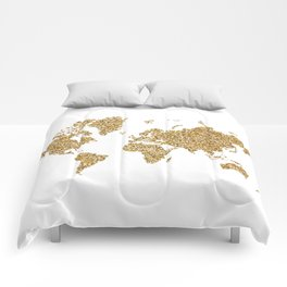 world map white gold Comforters