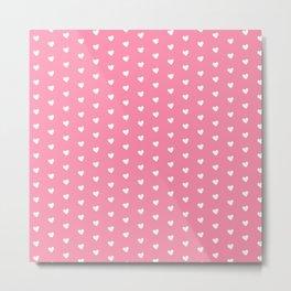 Flamingo Pink Heart Shape Pattern Metal Print