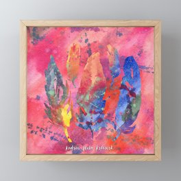 Pink Watercolor Feather Collage Framed Mini Art Print