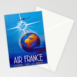 Pacifica Island Art Air France - Rayonne Sur Le Monde (Rays on the World) - Vintage World Travel Pos Stationery Cards
