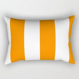 Wide Vertical Stripes - White and Orange Rectangular Pillow