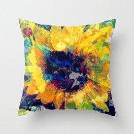 Sunflower Batik Throw Pillow