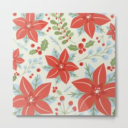 Holiday Poinsettia Mistletoe and Holly Berries Christmas Pattern in Red Green Blue Gray Metal Print