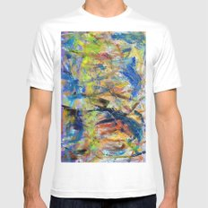 Untitled Abstract #2 MEDIUM White Mens Fitted Tee