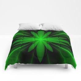 Neon Green Flower Fractal Comforters