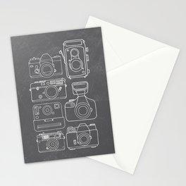 Vintage Camera Illustrations on Chalkboard Stationery Cards