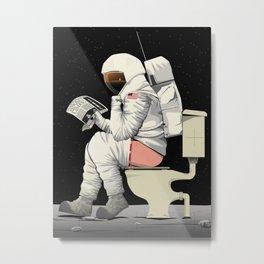 Spaceman On the Toilet Bathroom Restroom Apollo Metal Print