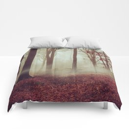 Late fall Forest in Fog Comforters