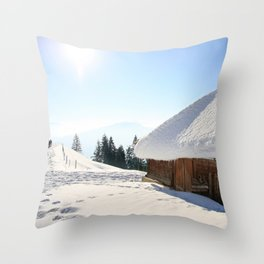 Winter Walk in The Snow Throw Pillow