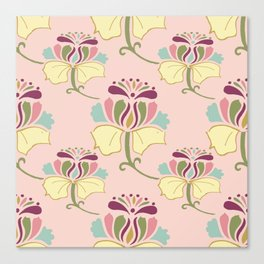Arabesque Floral on Pink Canvas Print