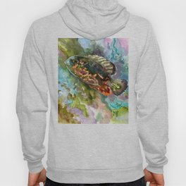 Oscar Fish, Aquarium Art, turquoise blue olive green fish underwater scene Hoody