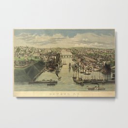 Vintage Pictorial Map of Oswego NY (1855) Metal Print