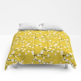 Cream Cherry Blossom Branches on Gold Comforters