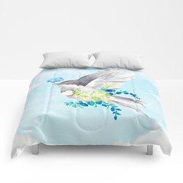 Little Bird Carries Blue Flower Comforters