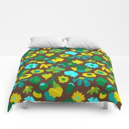 Mod Woodland Floral in Brown Comforters