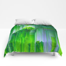 Nature Glitchin' - Abstract Pixel art Comforters
