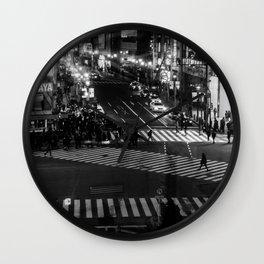 Shibuyacrossing at night - monochrome Wall Clock