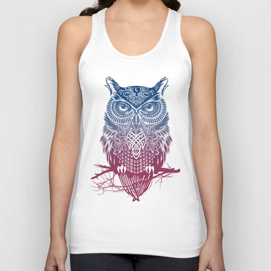Evening Warrior Owl Unisex Tank Top