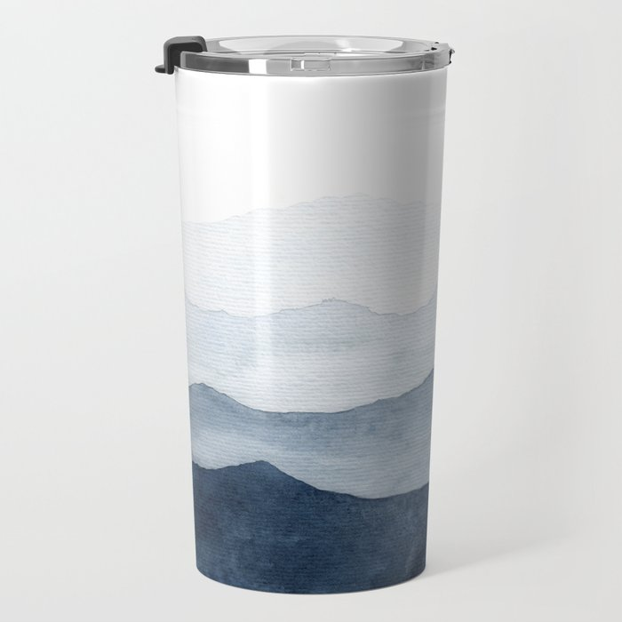Indigo Abstract Watercolor Mountains Travel Mug