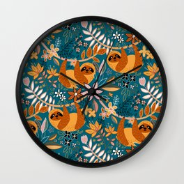 Happy Boho Sloth Floral Wall Clock
