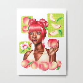 Peachy Girl Metal Print