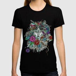 Floral Wolf. T-shirt