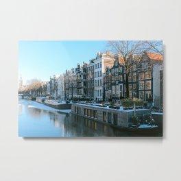 Amsterdam frozen canals  the Netherlands  Boats   Amsterdam houses  wintertime  artprint  photoprint Metal Print