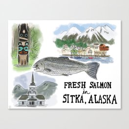 Salmon in Sitka, Alaska Canvas Print
