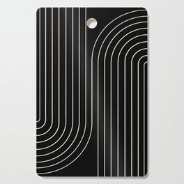 Minimal Line Curvature - Black and White II Cutting Board