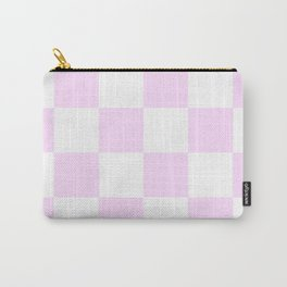 Large Checkered - White and Pastel Violet Carry-All Pouch