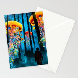 Electric Jellyfish Worlds in a New Blue Forest Stationery Cards