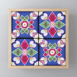 Spanish Tiles Blue Rose White Framed Mini Art Print