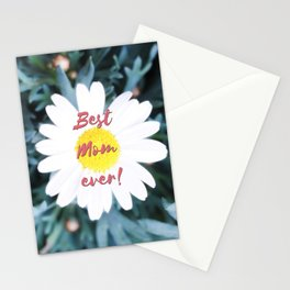 """SMILE """"Best Mom ever!"""" Edition - White Daisy Flower #1 Stationery Cards"""