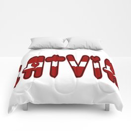 Latvia Font with Latvian Flag Comforters