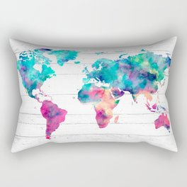 World Map Watercolor Paint on White Wood Rectangular Pillow
