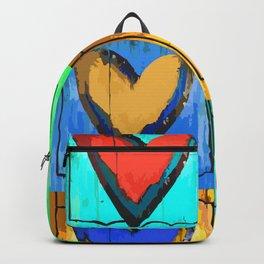 Folk Art Hearts Multi Color Backpack